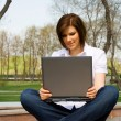 Young woman working on laptop - Stockfoto