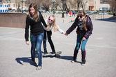 Teenage girls with skateboard — 图库照片