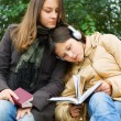 Stock Photo: Two young girls reading in the park
