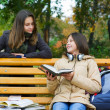 Two young girls reading in the park — Stock Photo #6289862
