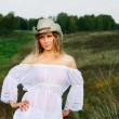 Stok fotoğraf: Beautiful woman in stetson