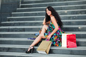 Young woman on the steps — Stock Photo