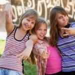 Teenage schoolgirls having a fun — Stock Photo