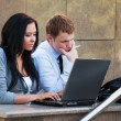 Young couple with laptop — Stock Photo #6344627