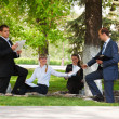 Young business in a city park — Stock Photo #6345025