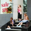 Teenage girls relaxing on a steps - Stock Photo