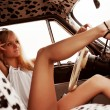 Stock Photo: Young womin retro car