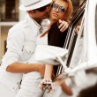 Young couple with a retro car — Stock Photo #6377526