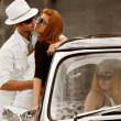 Stock Photo: Jealousy in retro car