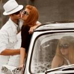 Jealousy in a retro car — Stock Photo