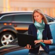 Stock Photo: Young businesswoman with laptop