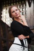 Linda mulher pensando — Foto Stock