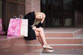 Sad young shopper — Stock Photo