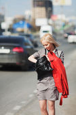 Young woman on a city street — Stock Photo