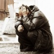 Homeless man in depression — Stock Photo #6554574