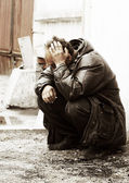 Homeless man in depression — 图库照片