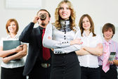 Happy young business team — Stock Photo