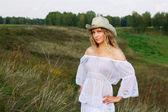 Beautiful woman on nature — Stock Photo