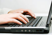 Female hands working on laptop — Foto Stock