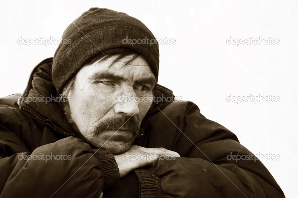 Homeless man on a city street. — Stock Photo #6596809