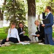Young business in a city park — Stock Photo #6666825