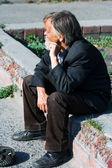 Homeless senior — Stock Photo