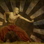 Martial Artist Grunge Art Background — Stock Photo