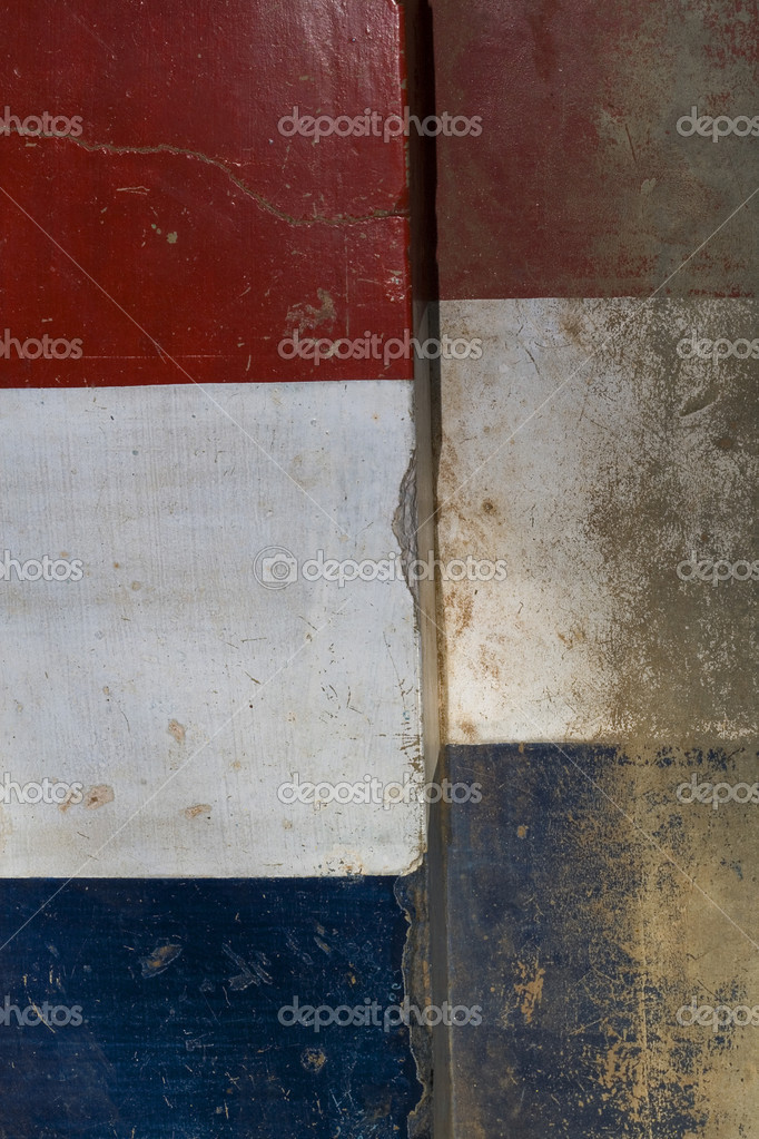 Red Blue Stone : Red white and blue stone flag background — stock photo