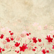 Red and Pink Blossom print on Ribbed Parchment - Stock Photo