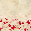 Stock Photo: Red and Pink Blossom print on Ribbed Parchment