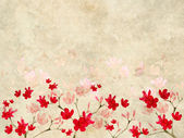 Red and Pink Blossom print on Ribbed Parchment — Stock Photo