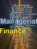 Managerial finance background concept glowing — Stock Photo