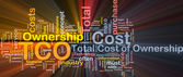 Total cost of ownership background concept glowing — Stock Photo