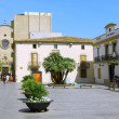 Small square in  Calella. Spain. - Stock Photo