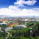 Город Барселона с вершины горы Тибидабо — Стоковое фото