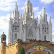 Temple on mountain top - Tibidabo in Barcelona city. Spain - Stok fotoraf