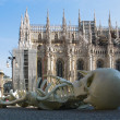 Cathedral Duomo  in Milan  at   left wing of Cathedral= - Stock Photo