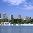Panorama on Cairo, seafront of Nile River. Cairo, Egypt. - Stock Photo