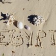 Inscription &quot; Egypt&quot; on a sand n a beach. - Stock Photo
