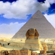 Stockfoto: Great Pyramid of Pharaoh Khufu, and Sphinx.