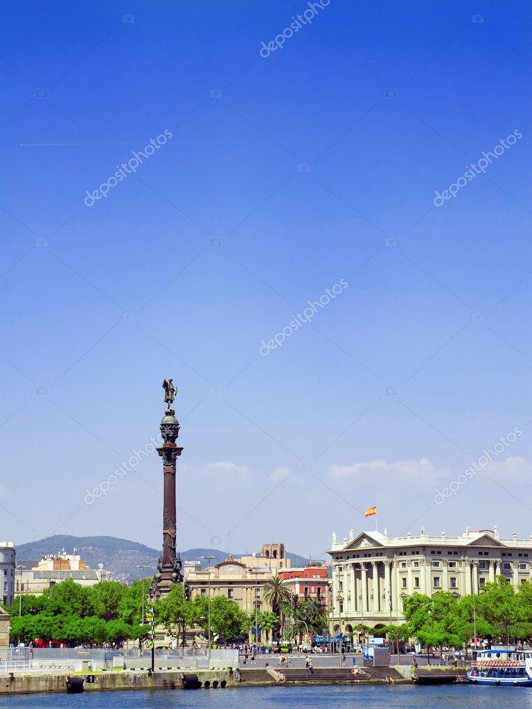 Monument of Columbus, Barcelona. Spain — Stock Photo ...