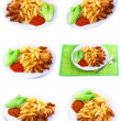 Fried potatoes with fry shrimps,lettuce. Isolated - Photo