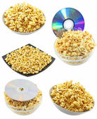 Collection (set) of caramel popcorn. Isolated — Stockfoto