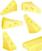 Collage piece of fresh cheese on white. Isolated — Stock Photo