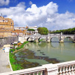 Castle Sant Angelo and bridge on Tiber , Rome - Stock Photo