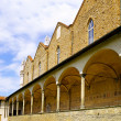 Enclosed court of Basilica Santa Croce ,Florence - Stock Photo