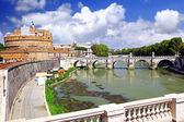 Castle Sant Angelo and bridge on Tiber , Rome — Stock Photo