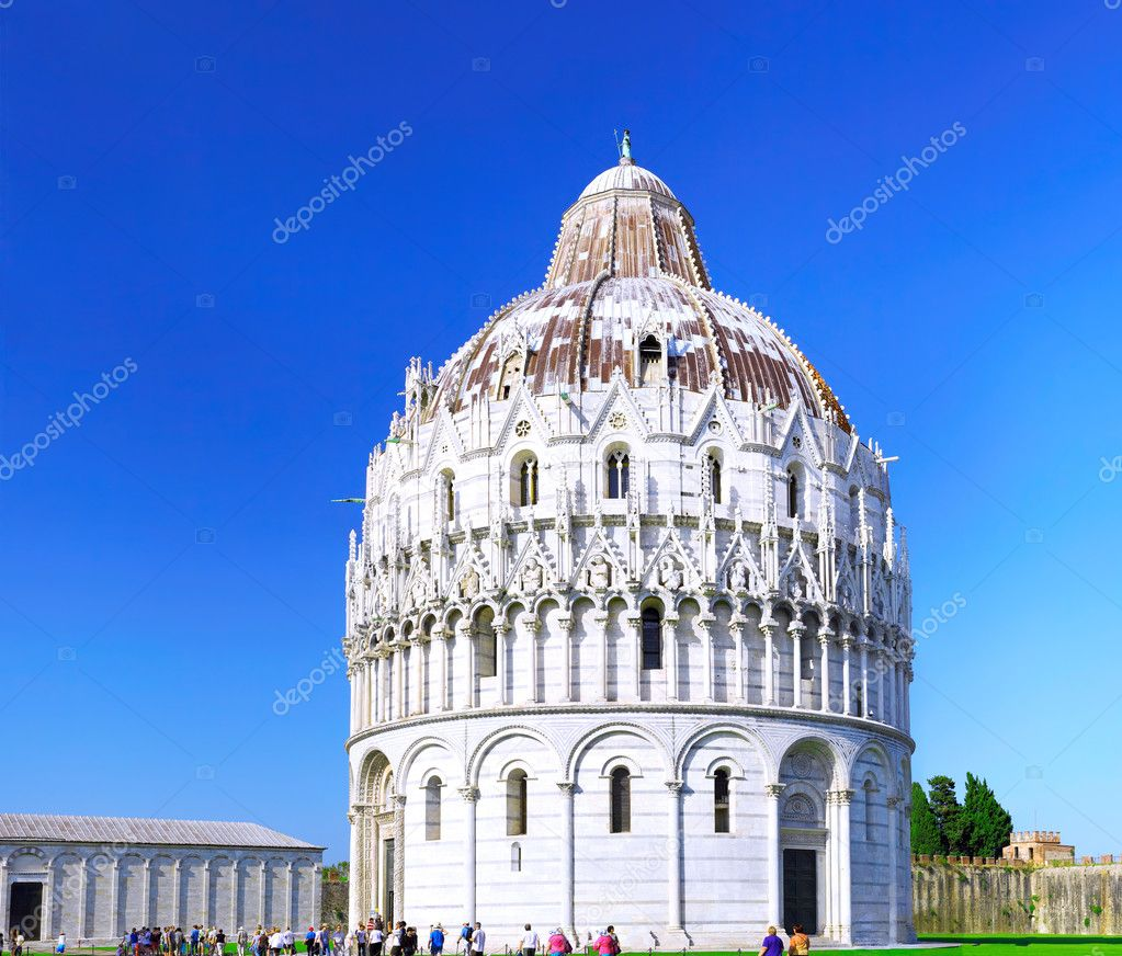 Cathedral, Baptistery and Tower of Pisa in Miracle square. Pisa. Italy. — Stock Photo #6361280