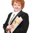 Stock Photo: Senior lady with newspaper. Isolated