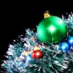 New Year decoration-balls,tinsel. — Stock Photo